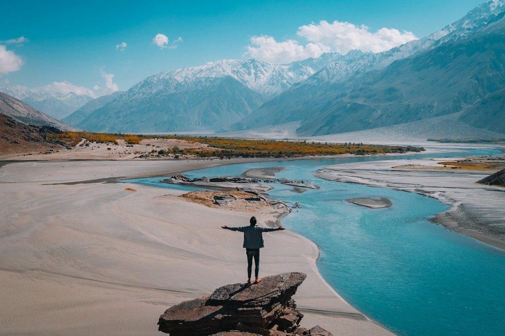 landscape, mountain, water